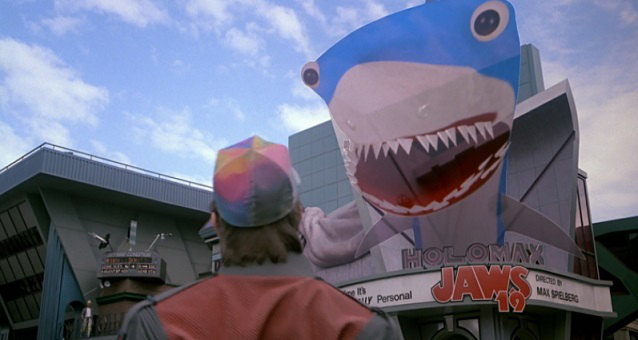 "Shot from the movie ""Back to the future ""about"" Jaws "" 
