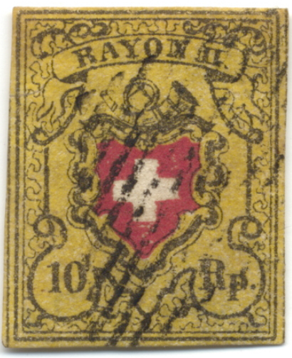 Stamp with the denomination value 10 Rappenau, 1850, Switzerland | Hobby Keeper Articles
