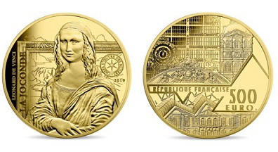 500 Euro coin, on the reverse of the Mona Lisa, 2019, France   Hobby Keeper Articles