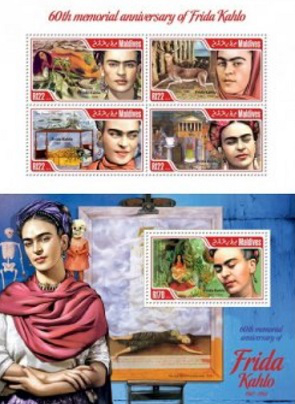 Commemorative stamps with a portrait of Frida Kahlo, Maldives | / Hobby Keeper Articles