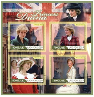Princess Diana stamp sheet, 2019, Lao people's democratic Republic   Hobby Keeper Articles