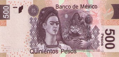 500 peso banknote with Frida Kahlo, 2010 | Hobby Keeper Articles