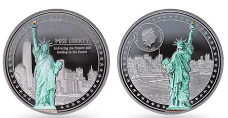 "$ 5 silver coin ""Lady Liberty"", 2020, cook Islands 