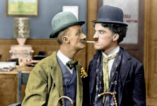 "Frame from the film ""His new job"" with Chaplin 