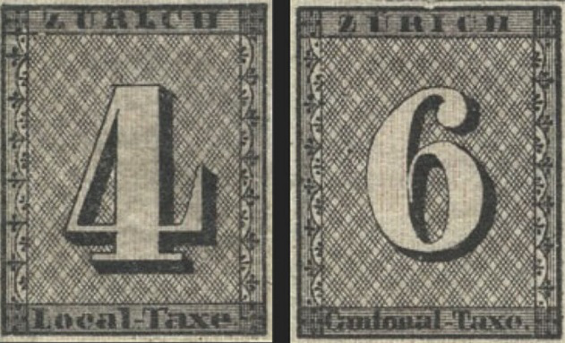 """Stamps """"Zurich four and six"""", Switzerland, 1843 
