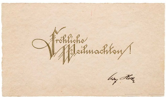 Christmas card signed by Hitler, 1925   Hobby Keeper Articles