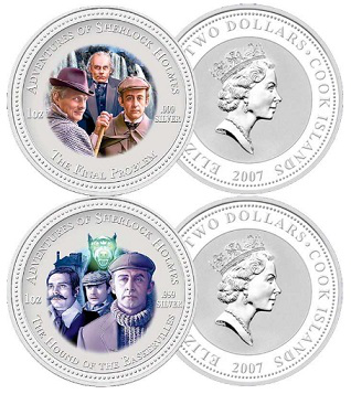 "2 dollar coins ""Sherlock Holmes"" on the reverse, 2007, cook Islands 