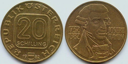 Coin of 20 shillings for the 250th anniversary of Haydn | Hobby Keeper Articles