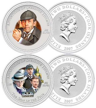 "2 dollar coins ""Sherlock Holmes"", 2007, cook Islands 