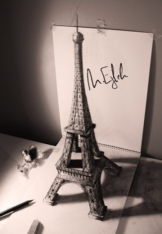 3D drawing of the Eiffel tower by Mohammed eyle | Hobby Keeper Articles
