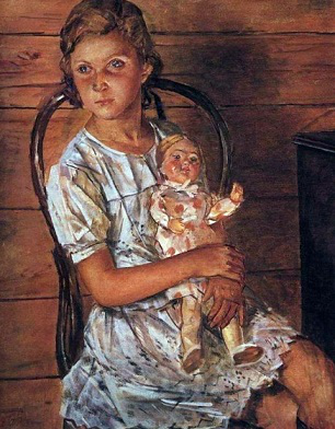 """Painting """" A girl with a doll (Portrait of Tatulya)"""", 1937 
