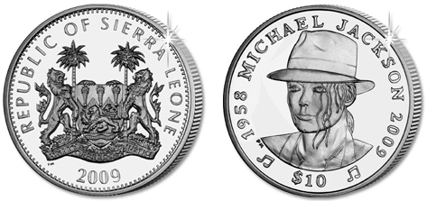 10 dollar coin with M. Jackson on the obverse, 2009, Sierra Leone | Hobby Keeper Articles