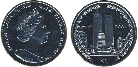 1 dollar coin, on the reverse of the twin towers, USA, 2002 | Hobby Keeper Articles