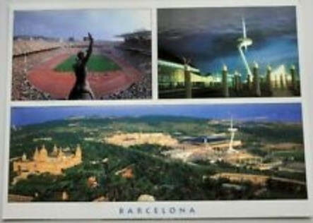 """Postcard """"Olympic village and Montjuic mountain"""", 2008 