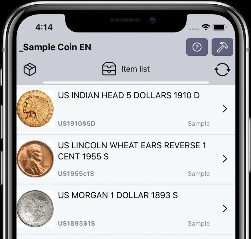 Coin list | Numismatist's Safe | IOS