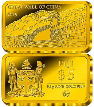 $ 5 gold coin with a Chinese wall on the reverse, Fiji, 2019 | Hobby Keeper Articles