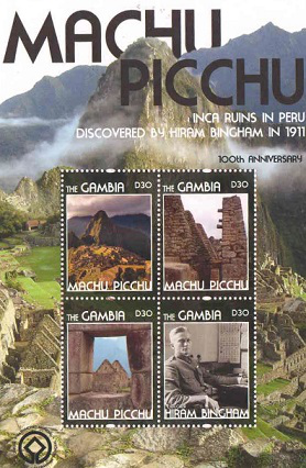 Block of stamps for the 100th anniversary of Machu Picchu architecture series, Gambia, 2011 | Hobby Keeper Articles