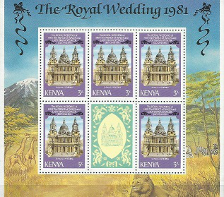 "Postal block of 6 stamps ""Royal wedding, 1981"", Kenya  Hobby Keeper Articles"