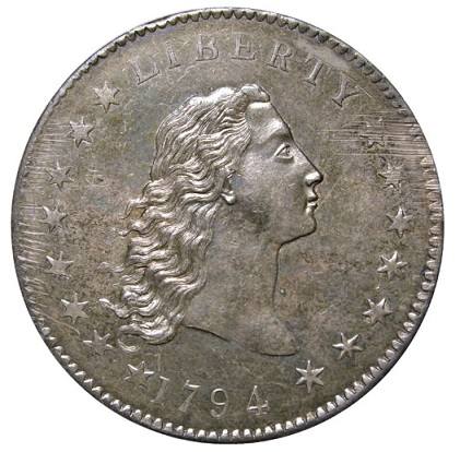 Obverse of the coin-the legendary dollar, 1794, USA | Hobby Keeper Articles