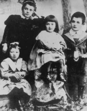 Fanny Feldman as a child (bottom left) with her sister Isabella (center), brother and governess | Hobby Keeper Articles