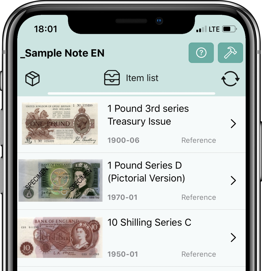 Banknote list | World of banknotes | IOS