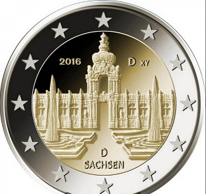 "2 Euro coin ""Zwinger Palace"", 2016, Germany 