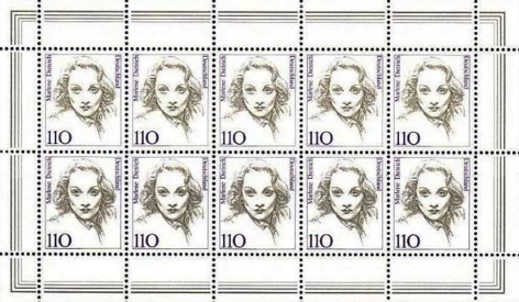 """Hitching stamps """"Marlene Dietrich"""", 1997, Germany 