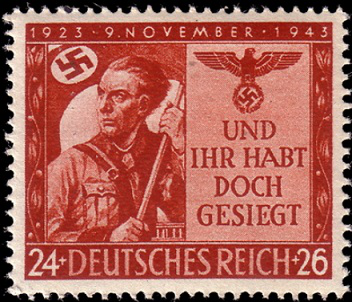"""Postage stamp """"Anniversary of the Beer Hall Putsch"""" Third Reich 1943 