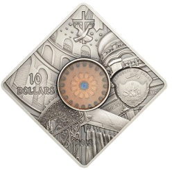 Silver coin 10 dollars, on the obverse interior of the Church of the Holy Sepulchre, 2018, Republic of Palau   Hobby Keeper Articles