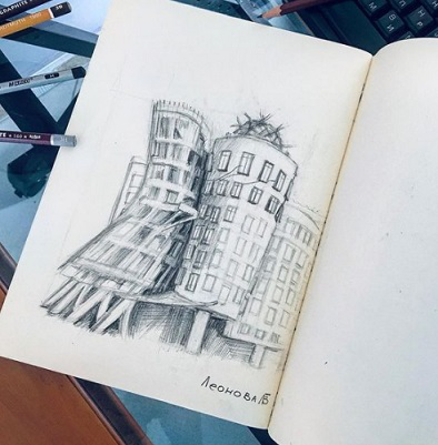 """Pencil drawing """"Dancing house"""" 