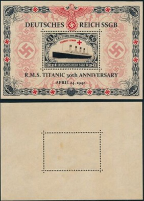 """Post block """"30th anniversary of the Titanic"""", Germany, 1942 