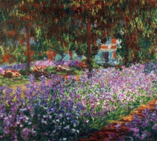 """Picture of Monet's """"Irises in the garden"""" 