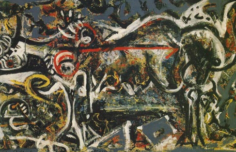 "D. Pollock's painting ""The Wolf"", 1943 