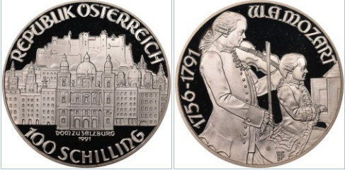 Coin 10 shillings with the image of Mozart's father | Hobby Keeper Articles