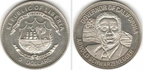 "5 dollar coin ""A. Schwarzenegger"", Liberia, 2004 | Hobby Keeper Articles"