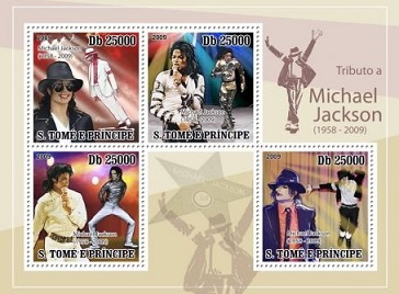 Michael Jackson stamps, 2009, Sao Tome and Principe | Hobby Keeper Articles