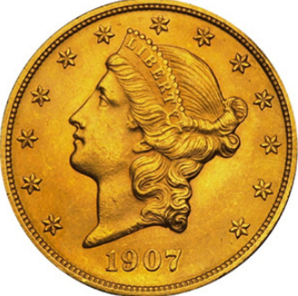 Gold coin 20 dollars, obverse, 1907, USA| Hobby Keeper Articles