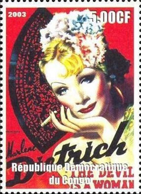 """Postage stamp """"Marlene Dietrich"""", 2003, Congo 
