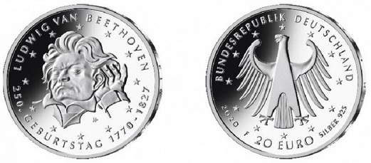 Coin 20 Euro, Germany, 2020 with an image of Beethoven | Hobby Keeper Articles