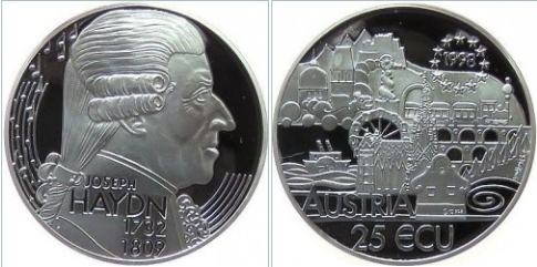 Coin Austria 25 ECU with the image of Haydn | Hobby Keeper Articles