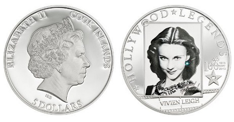 $ 5 coin on the reverse of Vivien Leigh, 2013, cook Islands | Hobby Keeper Articles