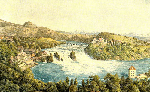 "The painting ""View of the Rhine falls in Schaffhausen near the hotel ""Weber"", 1847, Mendelssohn 