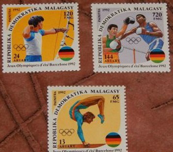 """Postage stamps """"Olympic games in Barcelona"""", 1992, Madagascar Republic 