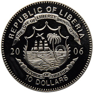 10 dollar coin, 2006, Liberia | Hobby Keeper Articles