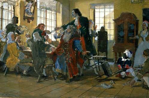 """The painting """"Peter I cuts the beards of the boyars"""". Artist Dmitry Belyukin, 1985 