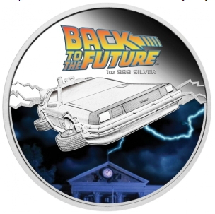 Silver 1 dollar coin with the image of the DeLorean DMC-12, 2015, Tuvalu | Hobby Keeper Articles