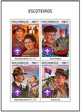 """Sheet of stamps """"Heroes of Spielberg's movies"""", Mozambique 