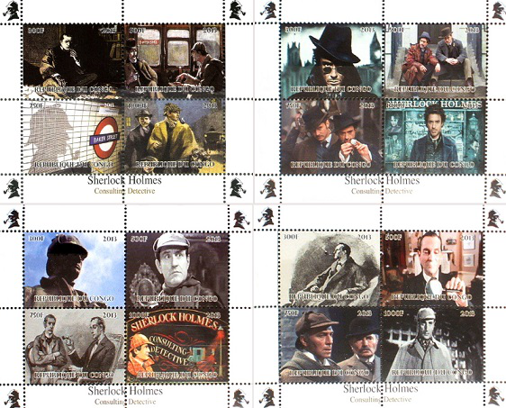 "The stamp series ""Sherlock Holmes"", 2013, Republic of the Congo 