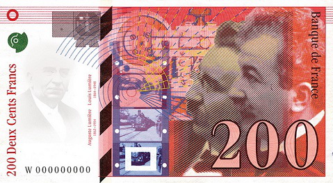 200 franc banknote with the Lumiere brothers, 1995, France | Hobby Keeper Articles