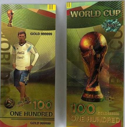 "Golden souvenir bill of 100 rubles ""L. Messi"", 2018 | Hobby Keeper Articles"